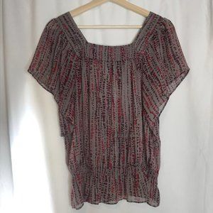 MOSSIMO Sheer Square Neck Maroon Blouse Small
